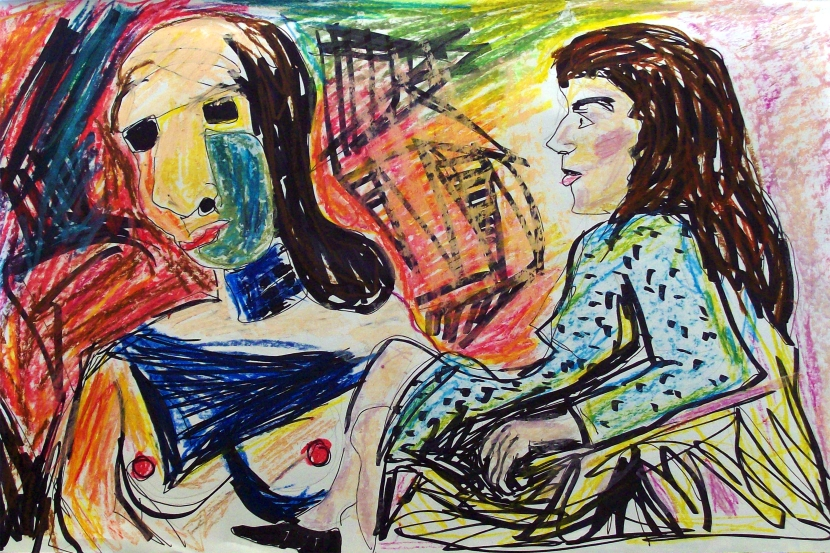 forrest_bay_area_figurative_revisited_joan_brown_3_ink_oil_pastel_2015