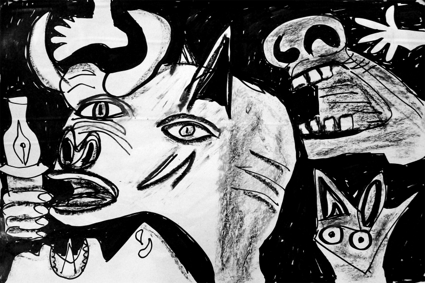 forrest_modern_masters_revisited_picasso_guernica_2_ink_oil_pastel_2015